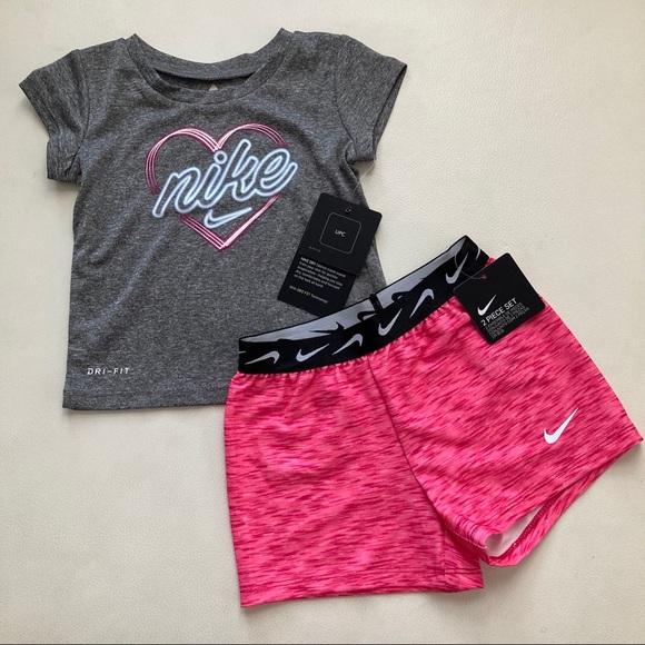 Nike baby girl cute pink shorts set 2204